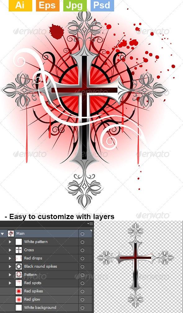 Silver Cross on a White Background - Decorative Symbols Decorative