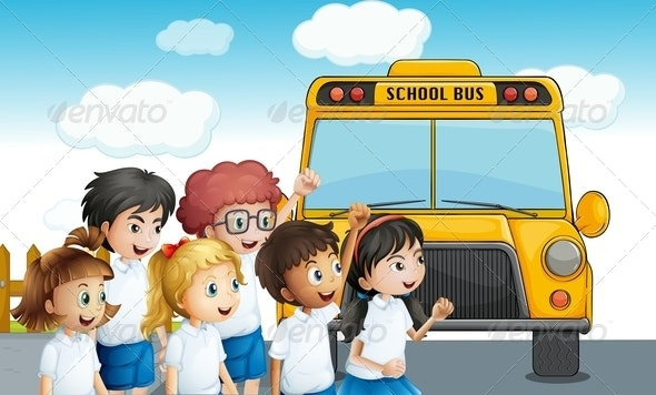 Students Walking to School Bus - People Characters