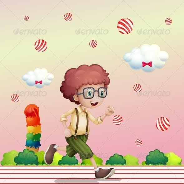 Boy Running in Candy Land