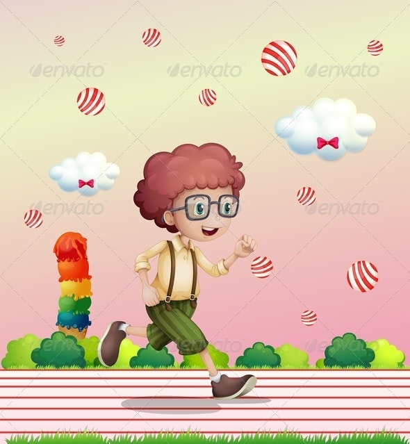 Boy Running in Candy Land - People Characters
