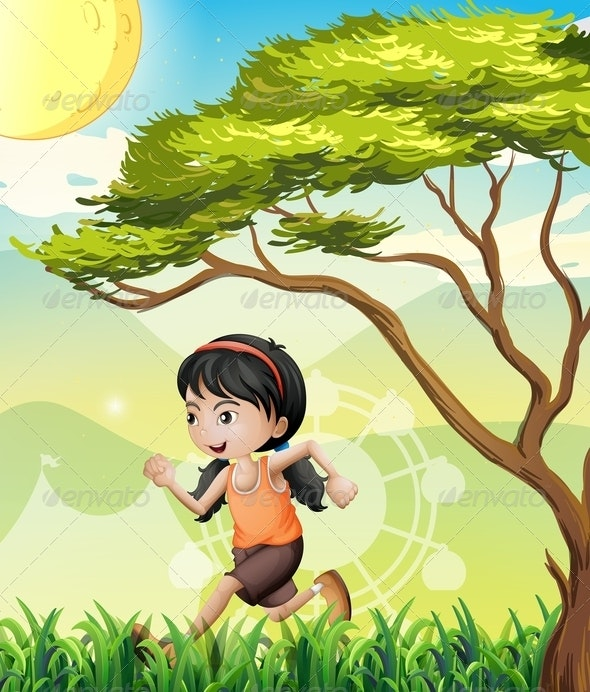 Girl Running in the Field - People Characters