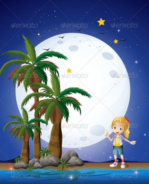 Girl on the Beach Under Full Moon - People Characters