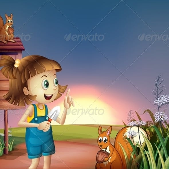A Girl with a Shovel Standing near the Wooden Sign