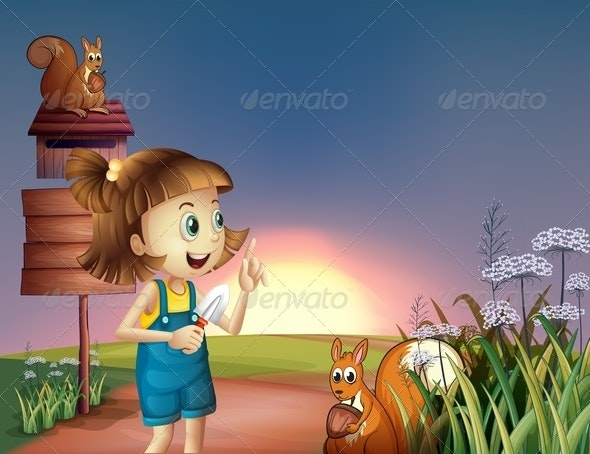 A Girl with a Shovel Standing near the Wooden Sign - People Characters