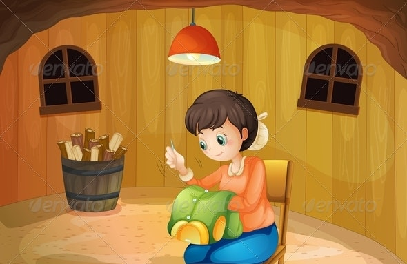 A Woman Sewing Inside a Wooden House - People Characters