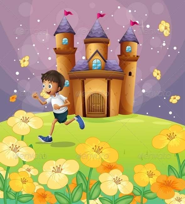 Boy Playing in Front of a Castle - People Characters