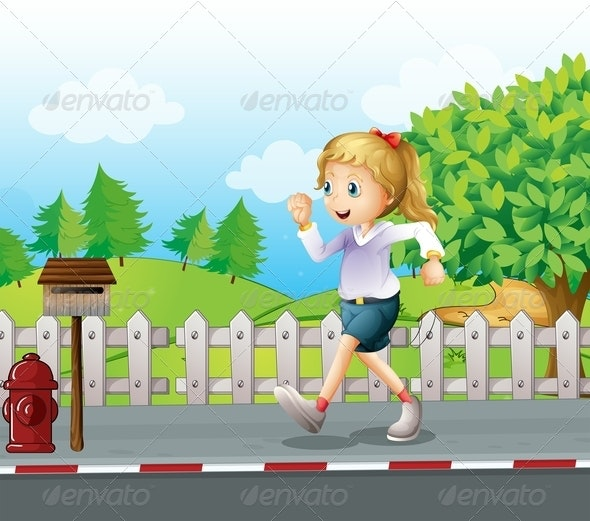 Girl Jogging in a Street - People Characters