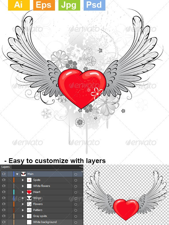 Red Heart with Wings - Decorative Symbols Decorative