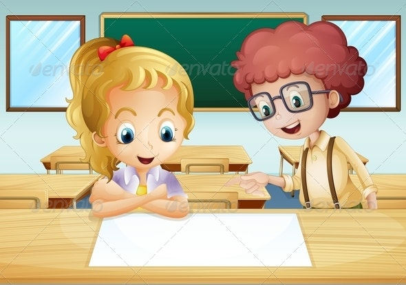 Girl and a Boy in a Classroom - People Characters