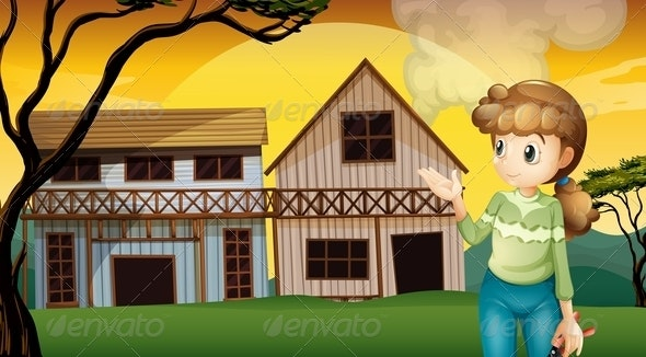 Woman standing in front of a House - People Characters