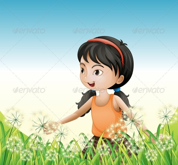 Girl standing in the Grass - People Characters