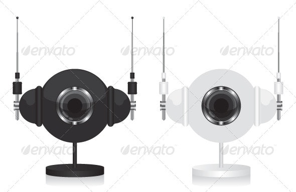 Black and White Eye Camera with Headphones - Technology Conceptual