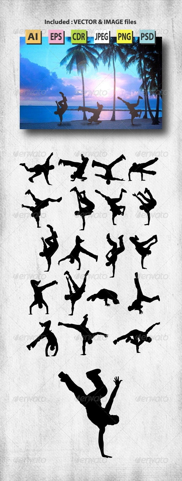 Male Breakdance Silhouettes - Sports/Activity Conceptual