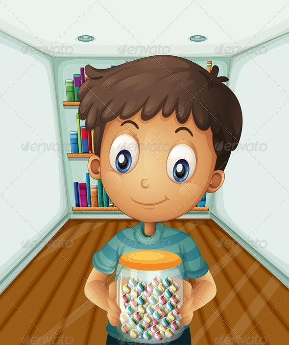 Boy Holding a Jar of Candies in Front of Books - People Characters