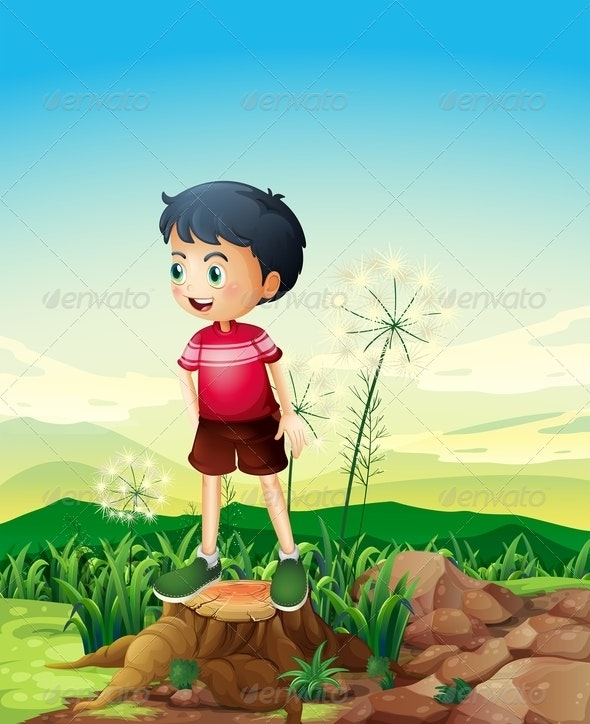 Little Boy Standing Above a Stump - People Characters