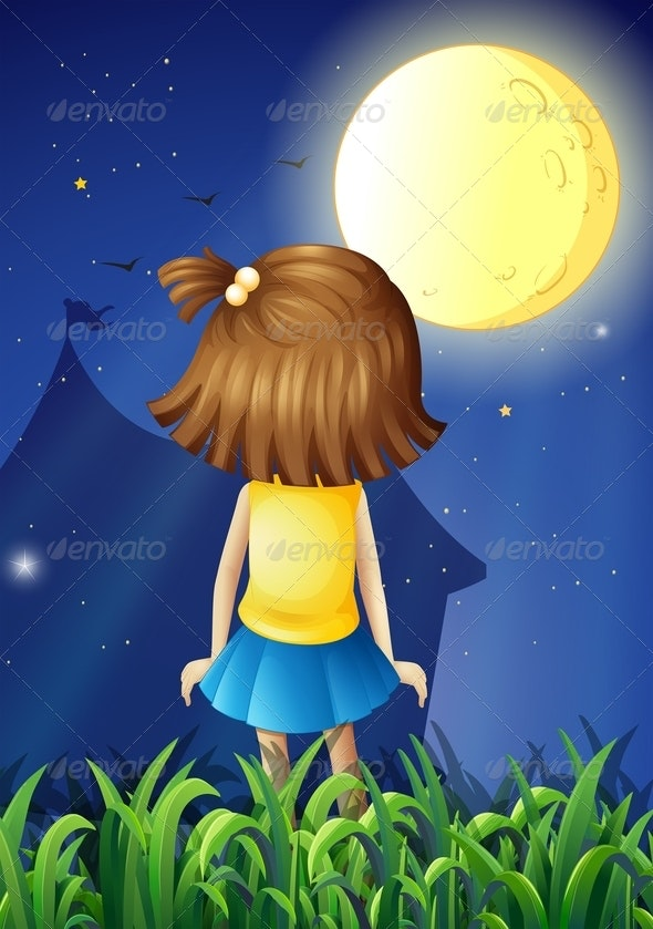 Little Girl Facing the Bright Fullmoon - People Characters