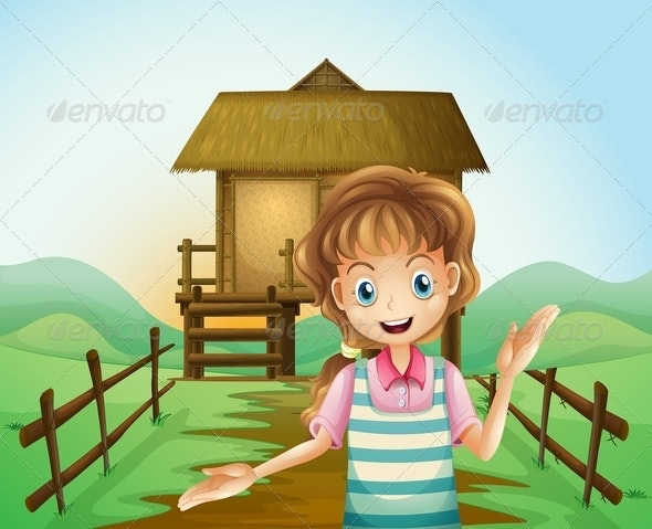 Girl in Front of a Nipa Hut - People Characters