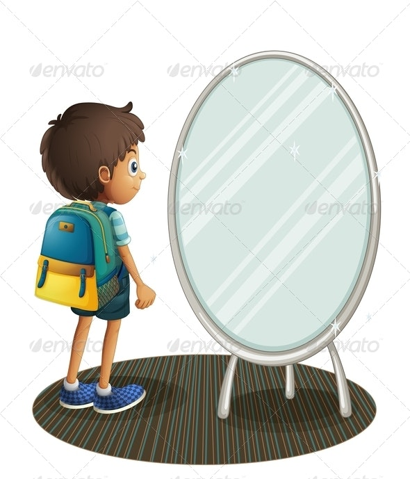 Boy Facing a Mirror - People Characters
