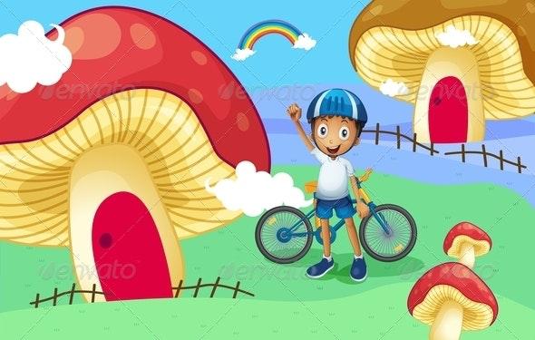 Young Biker Near Giant Mushroom Houses - People Characters