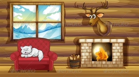Cat Sleeping on a Chair Near the Fireplace - Animals Characters