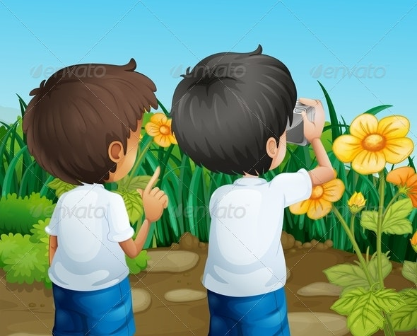 Two Boys Taking Photos of the Flowers - People Characters