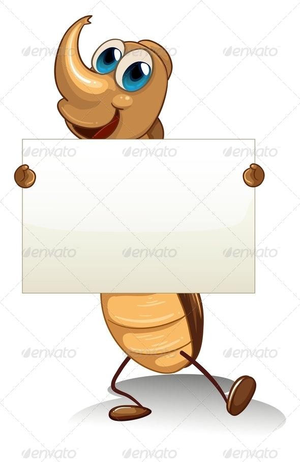Cockroach Holding an Empty Cardboard - Borders Decorative