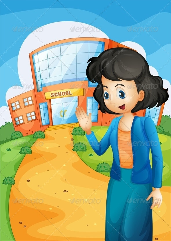 Teacher in Front of the School - People Characters