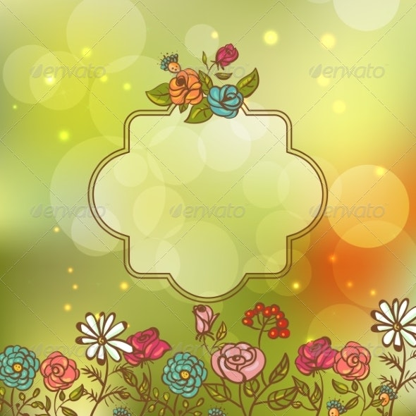 Flower Invitation Card Floral Frame with Ribbon - Patterns Decorative