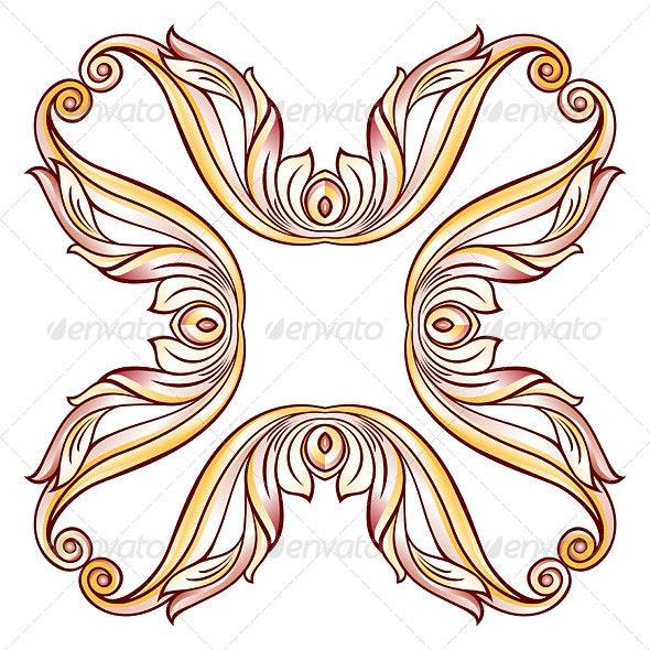 Floral Cross Element - Decorative Symbols Decorative