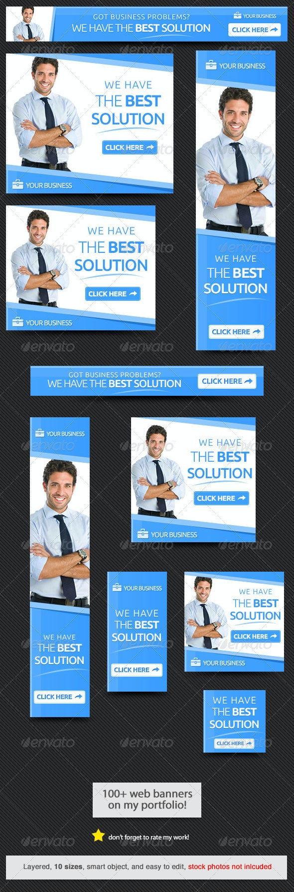 Business Solution Web Banner - Banners & Ads Web Elements