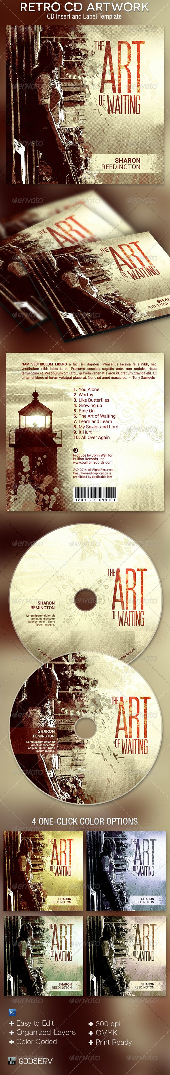 Retro CD Artwork Photoshop Template - CD & DVD Artwork Print Templates