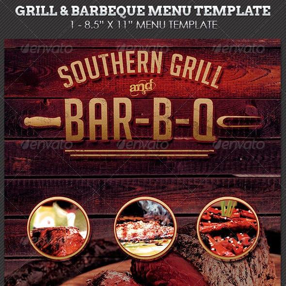 Grill Barbecue Restaurant Menu Template