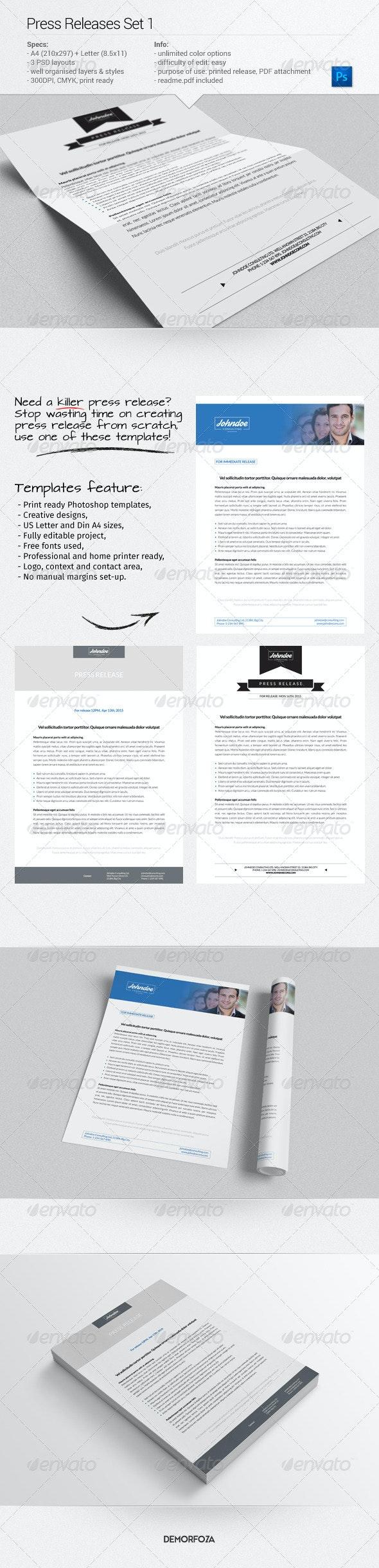 Press Releases Set 1 - Miscellaneous Print Templates
