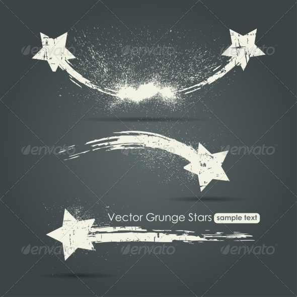 Grunge Set of Shooting Stars - Miscellaneous Vectors