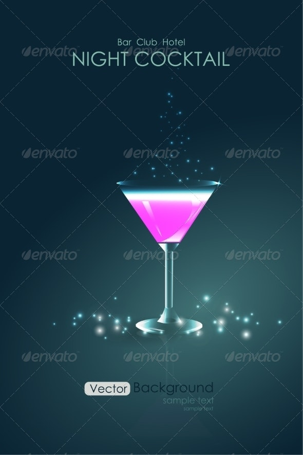 Pink Cocktail in a Glass Goblet - Miscellaneous Graphics