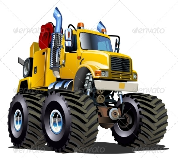 Cartoon Monster Tow Truck - Man-made Objects Objects