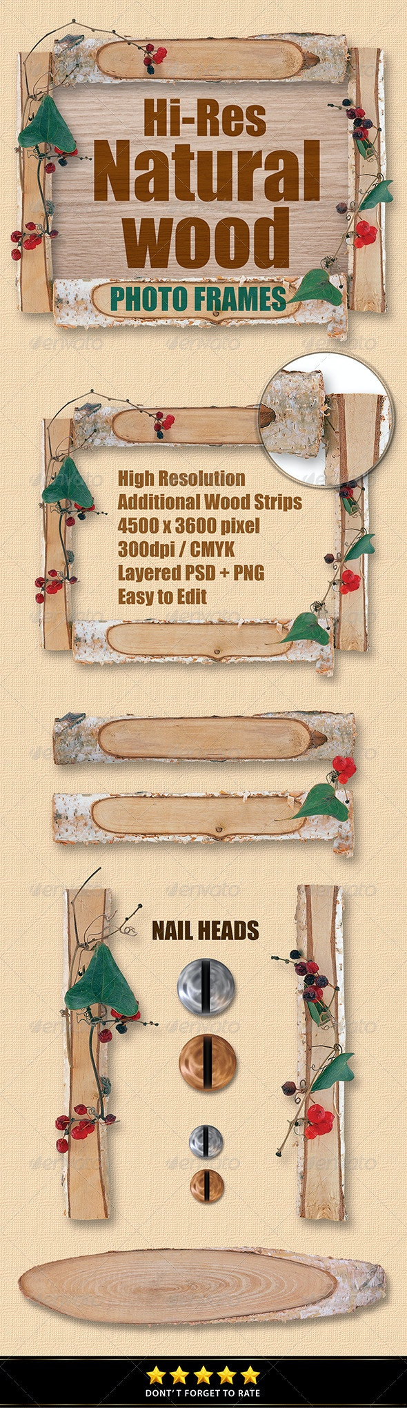 Isolated Natural Wood Frames - Miscellaneous Isolated Objects