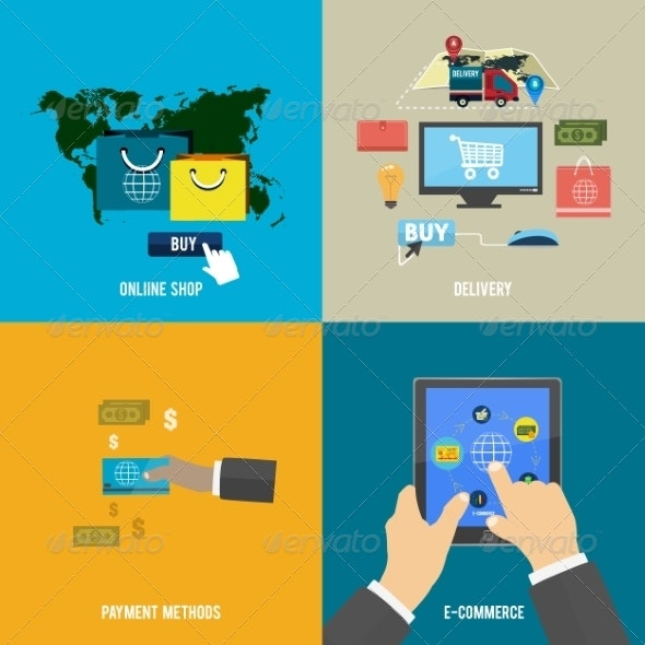 Icons for E-commerce, Delivery on Online Shopoing - Concepts Business
