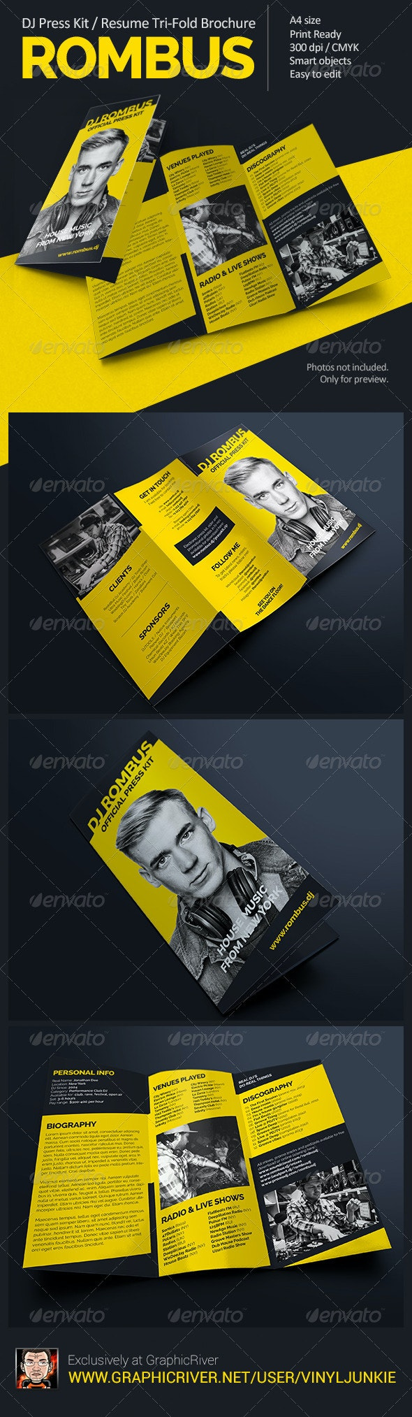 Rombus - DJ Press Kit Tri-Fold Brochure - Portfolio Brochures