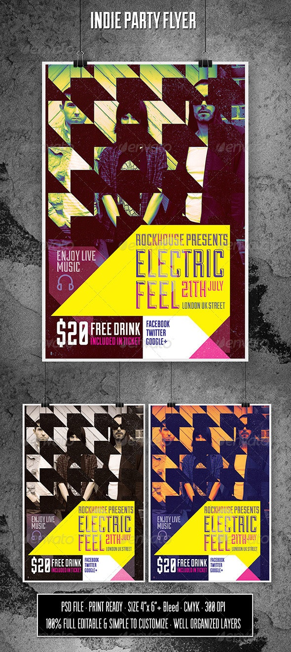 Electric Feel Indie Flyer - Flyers Print Templates