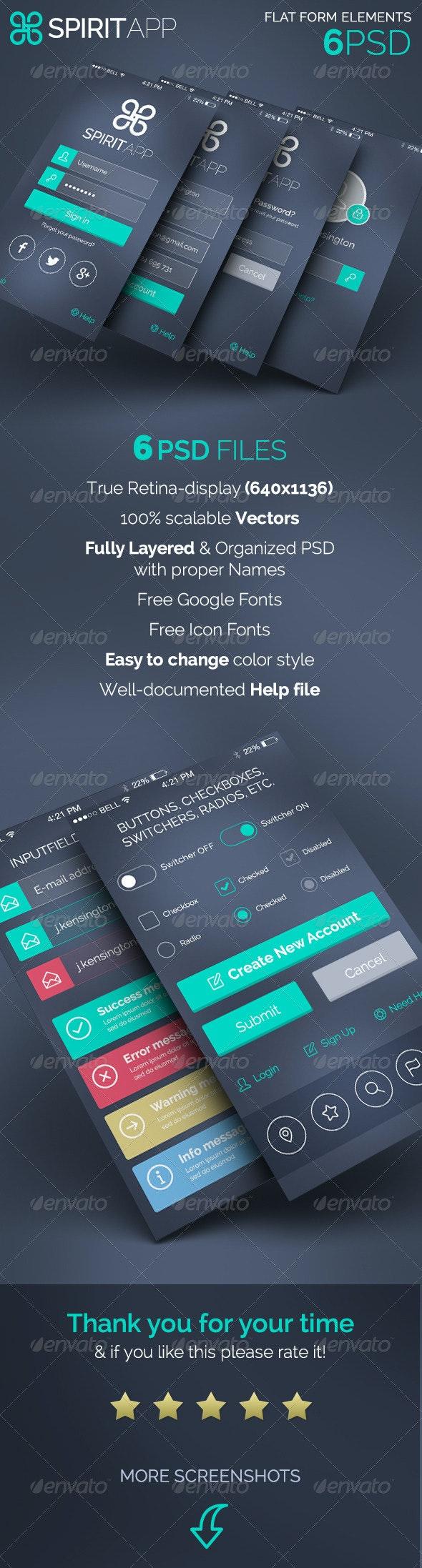 SpiritApp - Flat Form Elements - Forms Web Elements