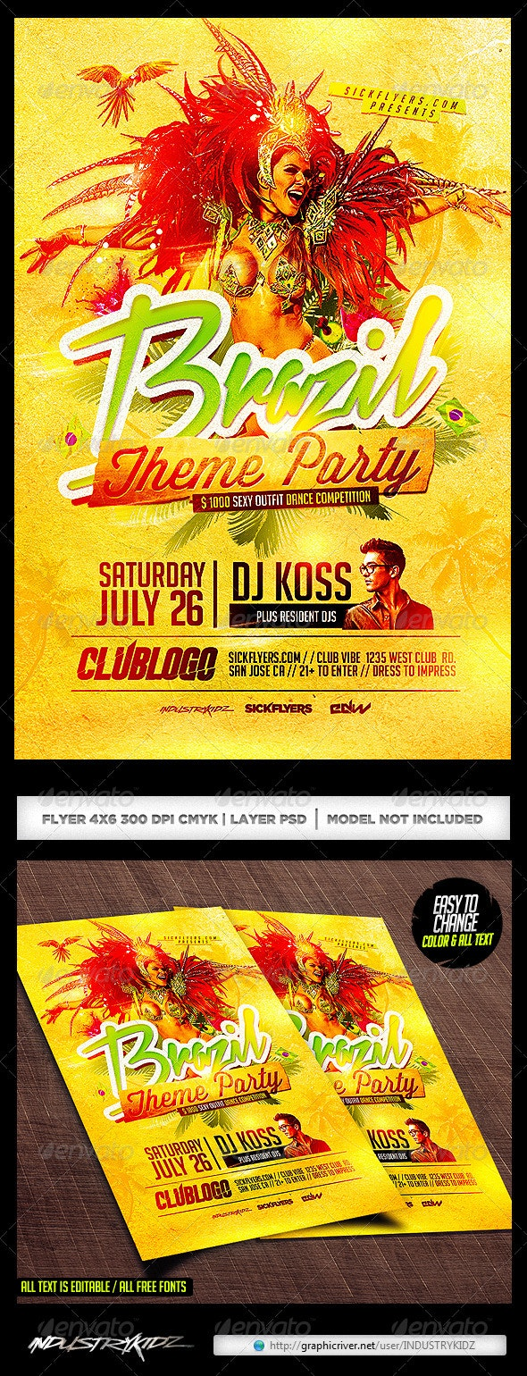 Brazil Theme Party Flyer Template PSD - Clubs & Parties Events