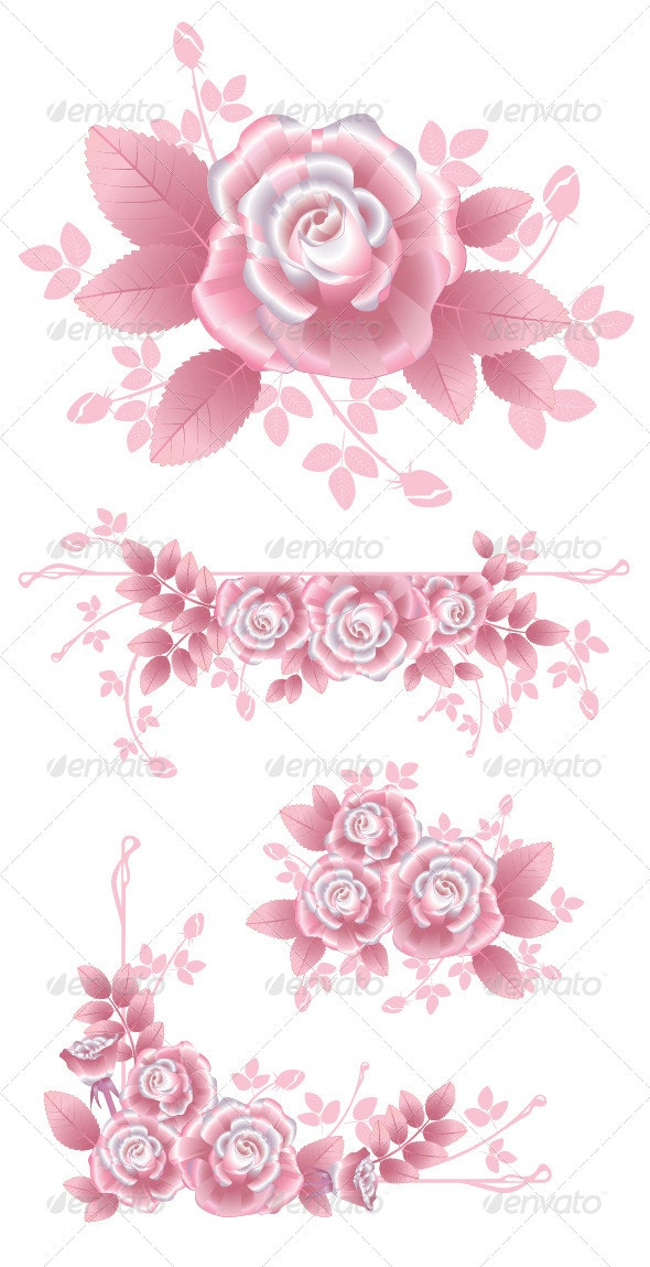Pink Silky Roses Set  - Flowers & Plants Nature