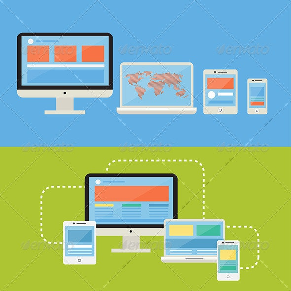 Responsive Devices Flat Design Style - Computers Technology