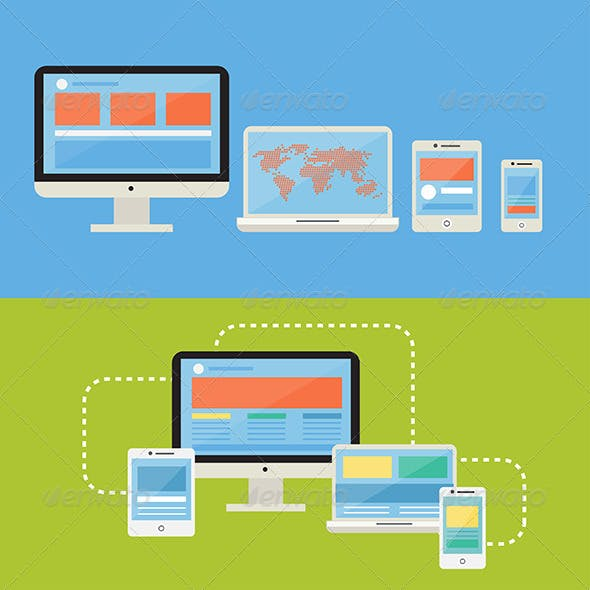 Responsive Devices Flat Design Style