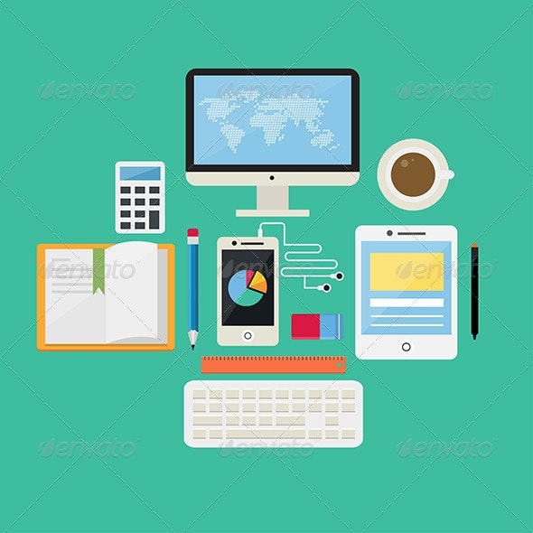 Flat Design Concept Internet and E-Learning Icons  - Technology Conceptual
