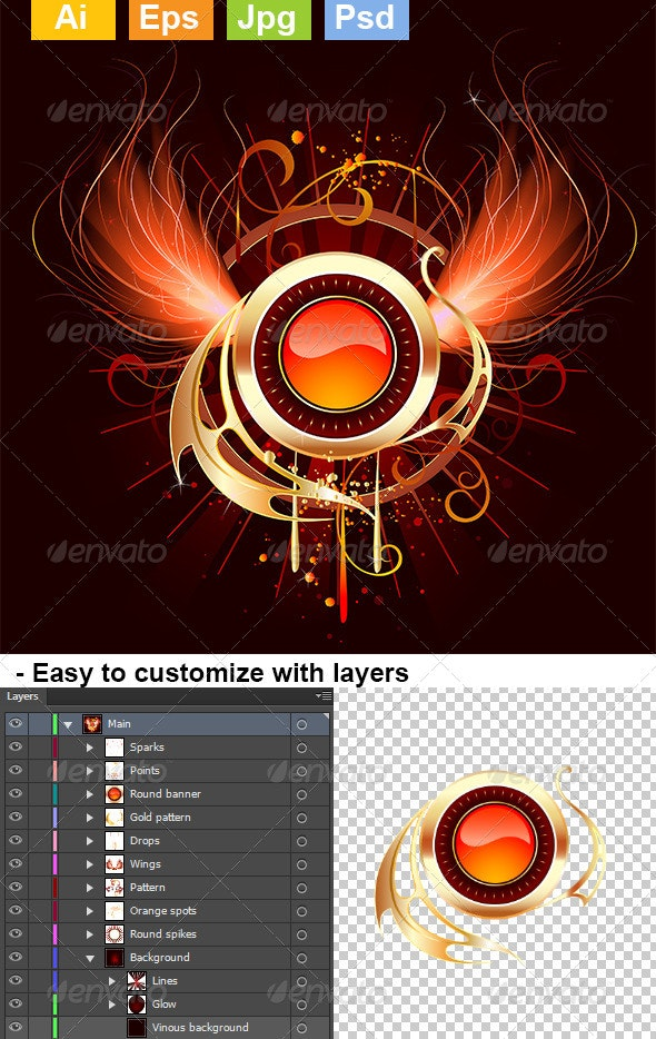 Hot Round Banner with Fiery Wings - Decorative Symbols Decorative