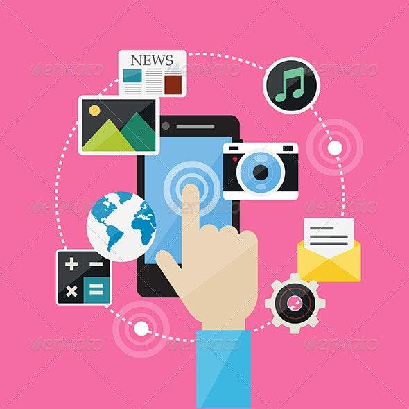 Flat Design Concept Web Internet and Social Network - Technology Conceptual