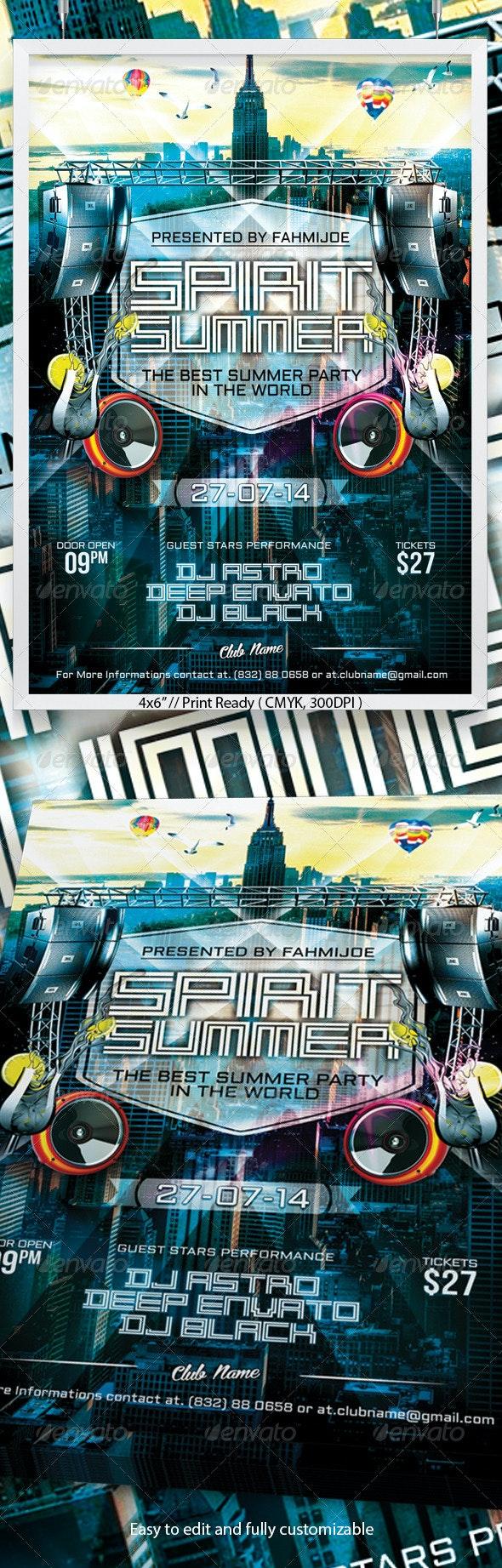 Spirit Summer Flyer - Clubs & Parties Events