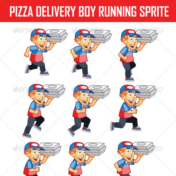 Pizza Delivery Boy Running Sprite